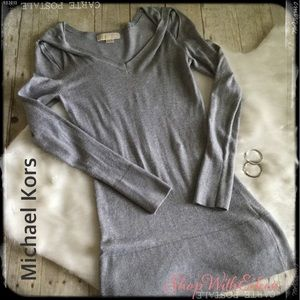Michael Kors Gray V Neck w\ peekaboo Tunic Sweater